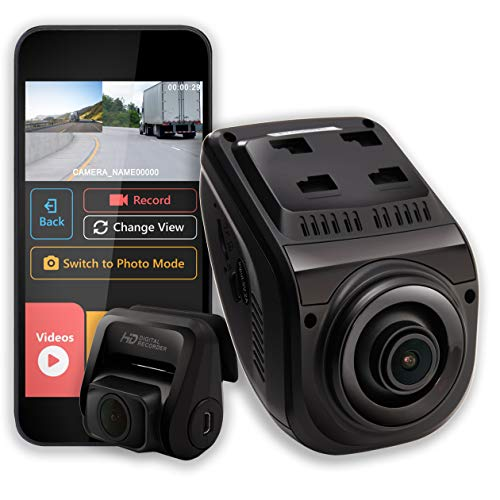 """Rexing V1P 3rd Generation Dual 1080p Full HD Front and Rear 170 Degree Wide Angle Wi-Fi Car Dash Cam with Supercapacitor, 2.4"""" LCD Screen, G-Sensor, Loop Recording, Mobile App (V1P Gen3)"""