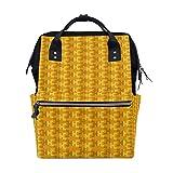 LINDATOP - Mochila para pañales con estampado geométrico, color amarillo, gran capacidad y multifunción, elegante y duradera