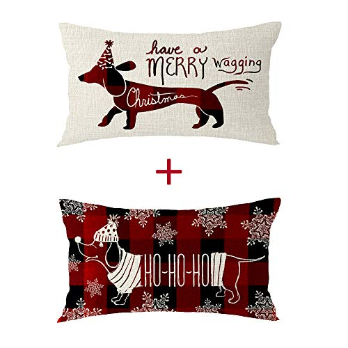 Bnitoam Set of 2 Merry Christmas Dachshund Snowflake Pet Dog Ho Ho Ho Grid Best Gift Cotton Linen Lumbar Decorative Throw Pillow Cover Cushion Case for Bed Couch Outdoor Family Sofa 12x20 inch (E4)