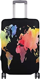Mydaily Watercolor World Map Luggage Cover Fits 24-26 Inch Suitcase Spandex Travel Protector M