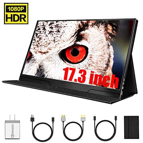 Tragbarer HDMI-Monitor, 17,3 Zoll IPS 1920X1080-Display Aluminiumgehäuse HDMI Monitor Bildschirm Game Monitor Für PC/Laptop / PS4 / Xbox Und Smartphone