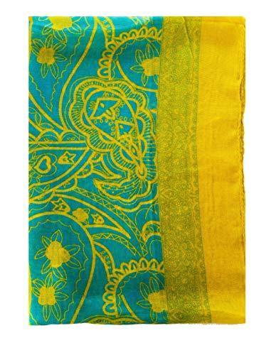 Large Rectangle Sheer Chiffon Aqua Turquoise Blue Green Yellow Gold Paisley Scarf Women's Scarves Hijab Shawl Wrap Pashmina Headband Bandana 23