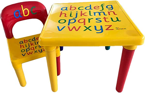 PEATAO Kids Table Chair Set Alphabetic Letter Child Toddler Education Learning Activity Desk Furniture Kit For Playing Eating Painting On Home Bedroom School Kindergarten Nursery
