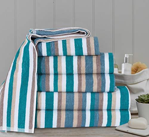 Modernage Royal Victorian - Toalla de baño (100% algodón, 4 unidades), diseño de rayas