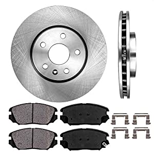FRONT 321 mm Premium OE 5 Lug [2] Brake Disc Rotors + [4] Ceramic Brake Pads + Clips