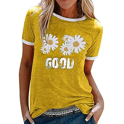 Camisa Mujer Cómodo Cuello Redondo Empalme Pequeño Patrón De Margaritas Imprimir Mujer Tops Casual Clásico De Moda Retro Elasticidad Colocación Verano Mujer Blusa I-Yellow L