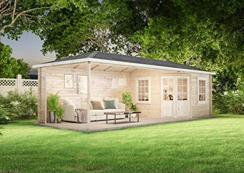 Alpholz Gartenhaus Mississippi-40 aus Massiv-Holz | Gerätehaus mit 40 mm Wandstärke | Garten Holzhaus inklusive Montagematerial | Geräteschuppen Größe: 795 x 302 cm