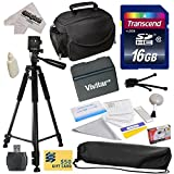 Best Value Accessory Kit for Canon VIXIA HF R52 HFR52, HF R50 HFR50, HF R500 HFR500, HF R32 HFR32, HF R30 HFR30, HF R300 HFR300, HF R42 HFR42, HF R40 HFR40, HF R400 HFR400, HF R36 HFR36, HF R306 HFR306, HF R38 HFR38, HF M50 HFM50, HF M52 HFM52, HF M56 HFM56, HF M500 HFM500, HF M506 HFM506 Video Camera Camcorder Includes - 16GB High-Speed SDHC Card + Card Reader + Vivitar BP-718 BP718 Extended 2300 mAh Lithium Ion Battery + Deluxe Padded Carrying Case + Professional 60' Tripod + Lens Cleaning Kit