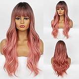 HAIRCUBE Pelucas sintéticas de pelo ondulado rosa natural largo Ombre con flequillo Pelucas onduladas corporales de pelo de raíz negra para mujeres blancas Ropa de fiesta o cosplay diaria