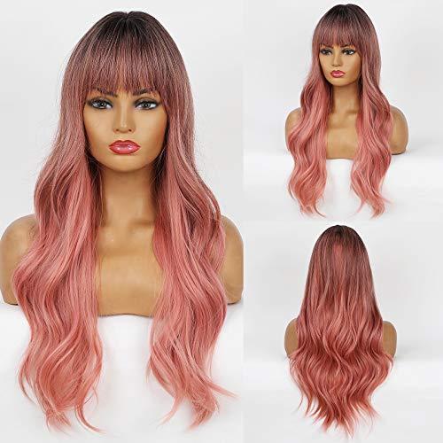 HAIRCUBE Long Natural Pink Wave Haar Synthetische Perücken Ombre mit Pony Black Root Hair Body Wave Perücken für Frauen Party oder Daily Cosplay Wear