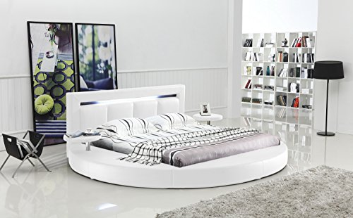 Oslo Round Bed with Headboard Lights King Size (White)