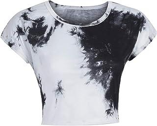 518d5ea5d iLOOSKR Summer Women's T-Shirt Tie Dye Short Sleeve HIgh Waist Casual Loose  T-