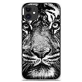 1001coques Coque en Silicone pour Apple iPhone 11 - Tigre Blanc et Noir