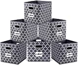 homyfort Foldable Storage Cube Bins 12x12 inches, Fabric Storage Bin Baskets Box Organizer with Labels and Dual Plastic Handles for Shelf Closet, Nursery, Set of 6 (Grey