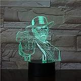 3D Illusion Night Light,Red Dead Redemption 3D Lámpara De Mesa Niños Adultos Led Lámpara Táctil Colorida Dormitorio Noche Luminoso Juego Juguetes