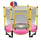 60' Trampoline for Kids,Mini Toddler Trampoline with Enclosure 5ft Indoor Outdoor Recreational Trampolines with Basketball Hoop, Birthday Gifts for Kids Baby Toddlers Age 2-5