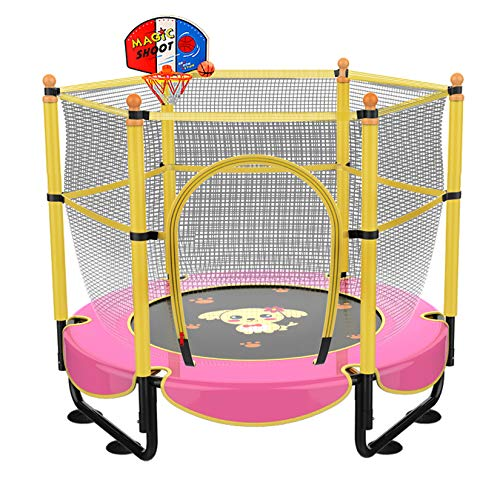 """60"""" Trampoline for Kids,Mini Toddler Trampoline with Enclosure 5ft Indoor Outdoor Recreational Trampolines with Basketball Hoop, Birthday Gifts for Kids Baby Toddlers Age 2-5"""