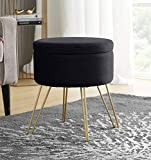 Ornavo Home Modern Round Velvet Storage Ottoman Foot Rest Vanity Stool/Seat with Gold Metal Legs & Tray Top Coffee Table - Black
