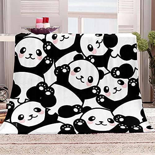 LHUTY Manta de Franela Panda de Dibujos Animados 180x220 cm Viaje Alfombra,Franela Sherpa,Manta De Felpa,Manta De La Siesta,Mantas Ligeras para Tiro, Manta para Cama, Manta para Sofá