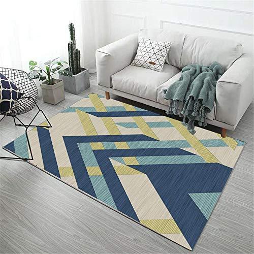 Alfombras Alfombra de Salon Fácil de Limpiar el diseño geométrico Amarillo Azul...