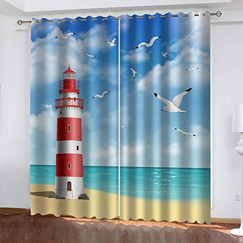 xczxc 3D Verdunkelungsvorhäng Leuchtturm am Meer Blickdichte Gardinen Verdunkelungsvorhang Lichtundurchlässige Vorhang mit Ösen für Schlafzimmer Geräuschreduzierung 2er Set 2X B75x H166 cm