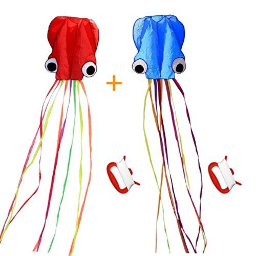 凧 立体タコ カイト 軽量で丈夫 スカイカイト 紙鳶 凧揚げ アウトドア 子供と大人のおもちゃ セット 2個(レッド・ブルー)
