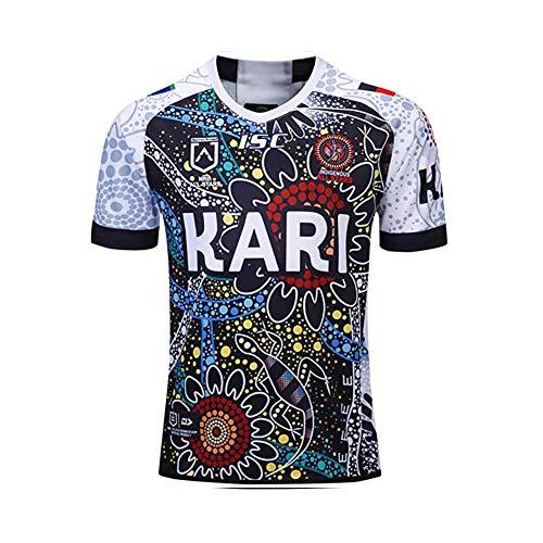 2019 Indigene Tarnung Rugby-Trikot-T-Shirts, Neu All Stars Fan Atmungsaktiver Fußball Kurzarm Sport Top Komfortables Poloshirt-White-XL