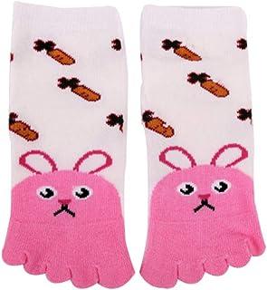 1par 3~12 años Calcetines infantiles divertidos colores Cinco dedos Calcetines niño antideslizantes Dibujos animados Animal socks Algodón
