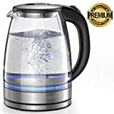 HadinEEon Electric Kettle 1.7L Glass Electric Tea Kettle (BPA Free) Cordless Teapot, Portable Electric Hot...
