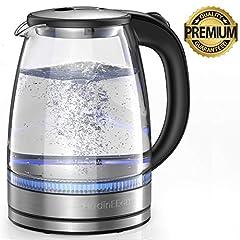 Czajnik HadinEEon 1,7 l szklana kuchenka wodna (bez BPA) bezprzewodowa z lampami wskaźnikowymi LED, przenośny kocioł na 2200 W, automatyczna ochrona przed wyłączaniem, pokrywa ze stali nierdzewnej i dół