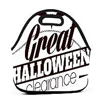 Happy Halloween Bat Logo 保温再利用可能おポータブル弁当箱ランチトートバッグ食事袋子供大人ユニセックス