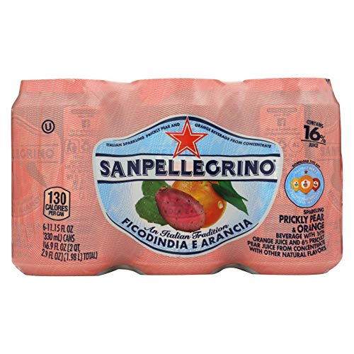 San Pellegrino Prickly Pear & Orange 11 oz (1 Pack of 6 Cans)