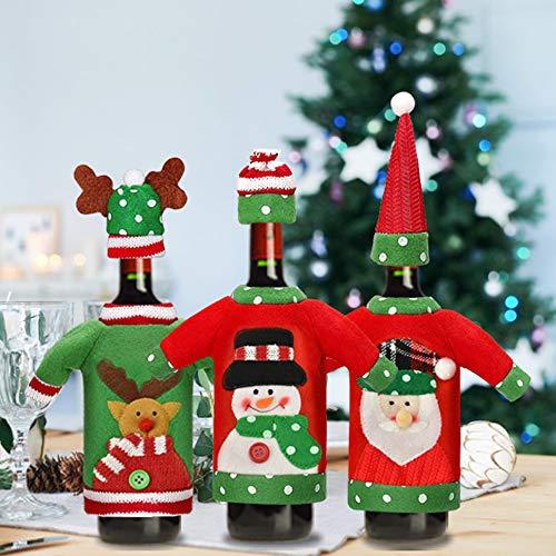 GOLRISEN Funda Navideña para Botellas, 3 Cubiertas de Botella de Vino Papá Noel Muñeco de Nieve, Reno Navideño para Decorar Las Botellas, Vestidos de Navidad Envolturas Navideñas para Botella de Vino