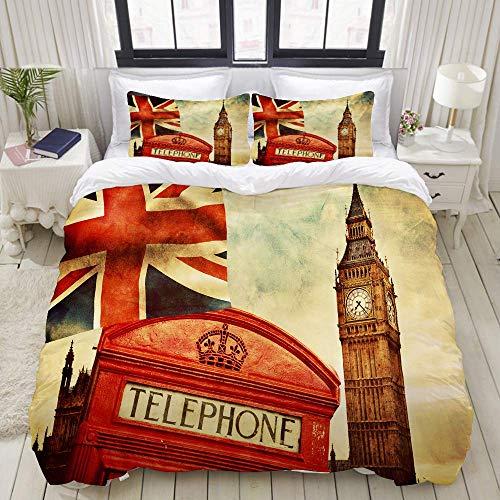 Bedding Juego de Funda de Edredón - Símbolos de Londres Inglaterra El Reino Unido Cabina de teléfono roja Big Ben y la Bandera Nacional Union Jack - Microfibra Funda de Nórdico y Fundas de Almohada