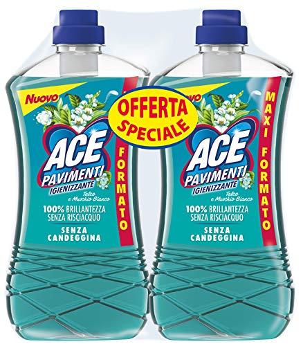 ACE PAvimenti Igienizzante Talco e Muschio Bianco, Senza Candeggina, Bipacco 2 x1300 ml, Cartone da 3 bipacchi