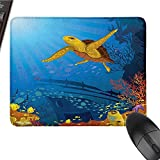 Ocean Patterned Mouse pad Colored Coral Reef with Silhouette School of Fish and Turtle Underwater Art Easy to Clean and Maintain W15.7 x L23.6 x H1.2 Inch Yellow Orange Navy
