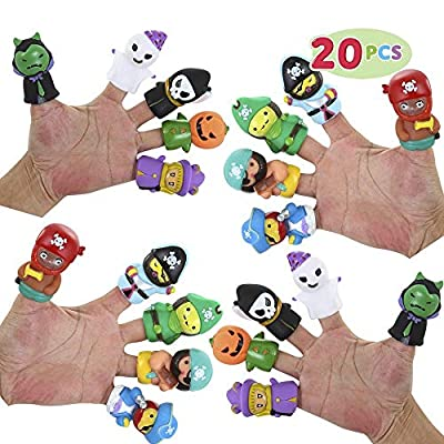 JOYIN Halloween 20 PCS Character Finger Puppets Witch, Ghost, Grim Reaper, and Pumpkin Character Finger Toys for Kids, Halloween Party Favor Supplies Goodie Bag Fillers from Joyin Inc