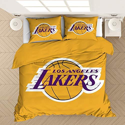 Funda Nórdica para logo 3D NBA lecho cómodo de microfibra Los Angeles Lakers Funda Nórdica con 2 fundas de almohada,Lqd23,135x200cm