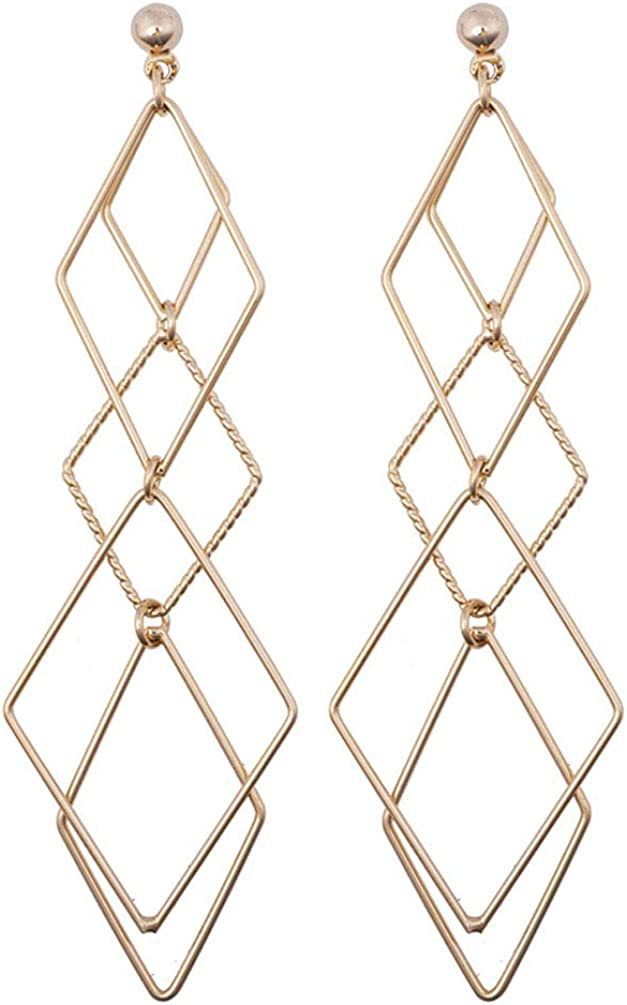 Clip on Dangle Earrings Drop Women Girls No Pierced Statement Charm Layered Long Diamond Shaped Gold Tone