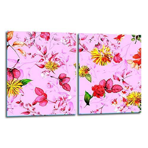 TMK | Juego de 2 cubiertas de vitrocerámica de 40 x 52 cm, protección contra salpicaduras, placa de cristal, cubierta de vitrocerámica, tabla de cortar, diseño de flores rosas
