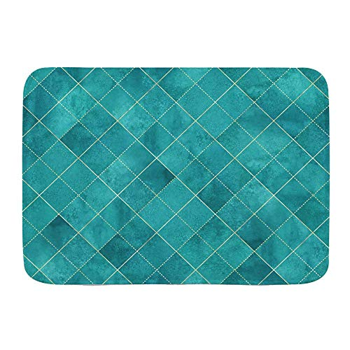 Throwpillow Badematte rutschfeste Aquarell Argyle Abstract Geometric Plaid Gold Glitter Linie Kontur Teal Türkisblau...