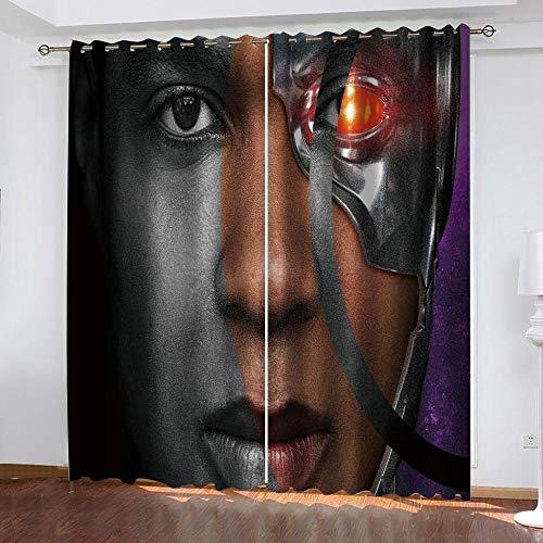 Agvvseso verdunkelungsvorhänge Öse Thermal für Schlafzimmer Wohnzimmer 3D Filmfiguren Fenstervorhänge isoliert Super Soft 2 Panels((B) 182x(H) 214 cm) Hotel Balkon Fenster Vorhang