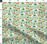 Corgi, Corgis, Babyhosen, Mint, Hund, Kaktus, Juli 2016 Kaktus Stoffe - Individuell Bedruckt von Spoonflower - Design von Petfriendly Gedruckt auf Satin