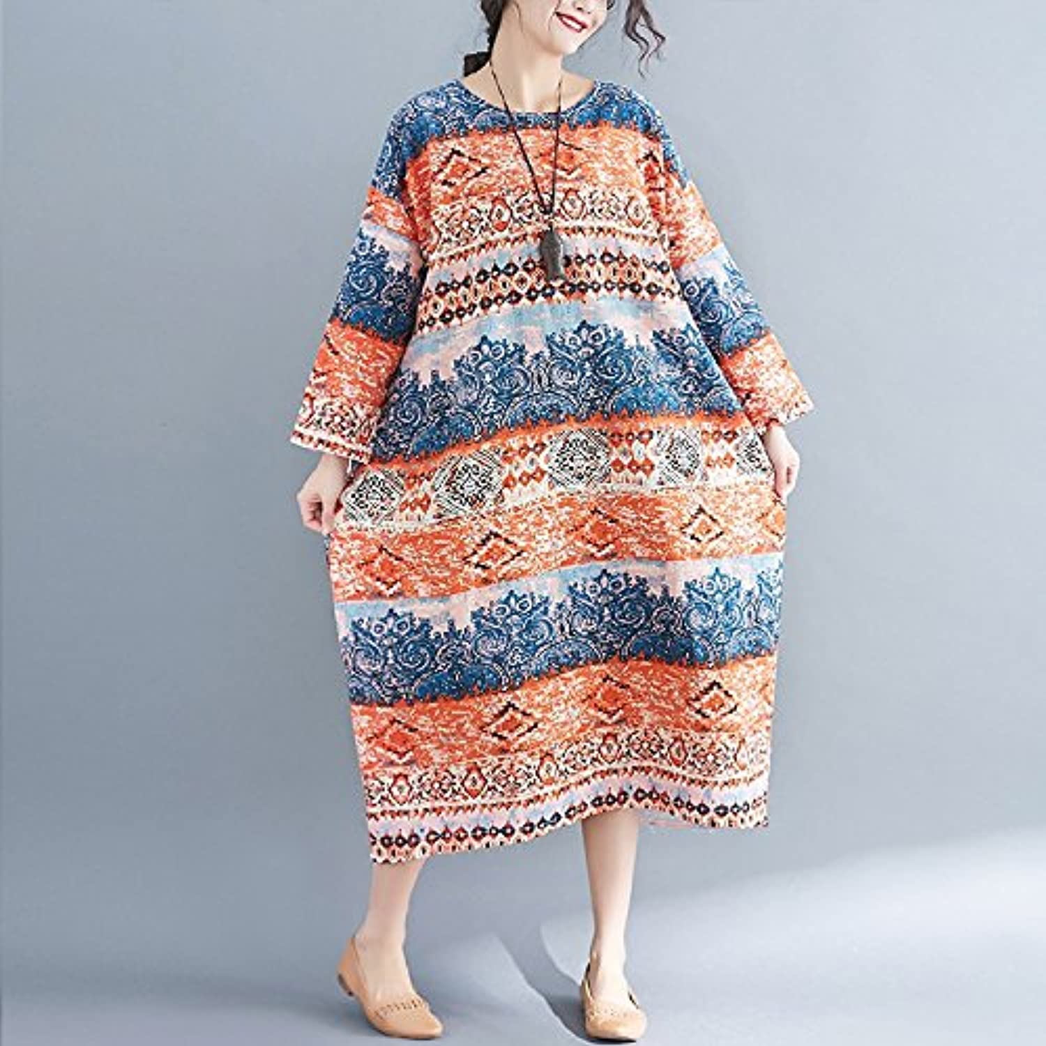 XIURONG Spring Sleeved Cotton Dress Loose Thin Woman