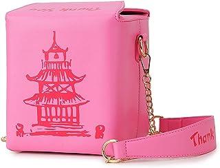 ENJOININ Chinese Takeout Box Tower Print Pu Leather Ladies Handbag Cute Girl's Shoulder Bag Messenger Bag for Women Totes Bag