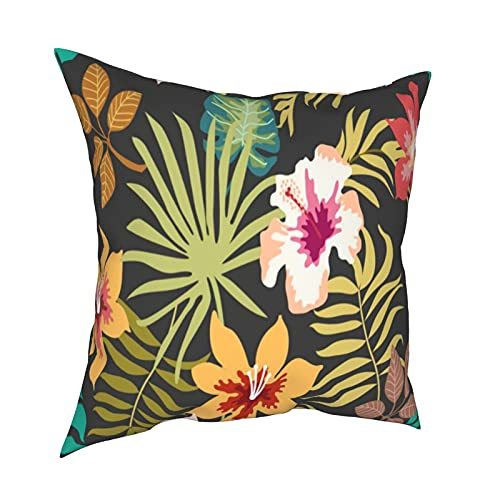 Throw Pillowcase Fundas de Almohada Fondo Floral Tropical Oscuro de 45x45cm con Hojas de Palmera y Flores. Decoración decoración del hogar, Oficina, sofá, Barra de Vacaciones, café, Boda, Coche
