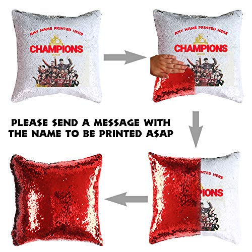 Just Get Personal MAGIC SEQUIN CUSHION - PILLOW LIVERPOOL CHAMPIONS 2020 RED