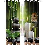 cortinas de dormitorio, Masaje Caliente Rocas Combinado con Velas y Olores Paisaje de Bambú, W52 x L95 Cortina opaca para la sala de estar, verde blanco negro