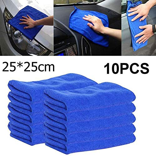10Pcs Super Absorbent Microfiber Towels for Car Home Kitchen - New Cloths Cleaning Duster Drying Towels Wash Durable Auto Detailing Brush (A, 10)
