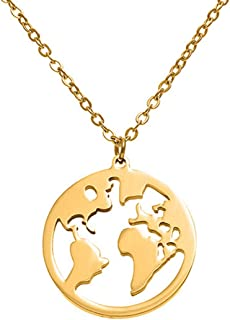 Fascigirl Fashion Simple Pendant Necklace Decor Charm Necklace World Map Sweater Necklace